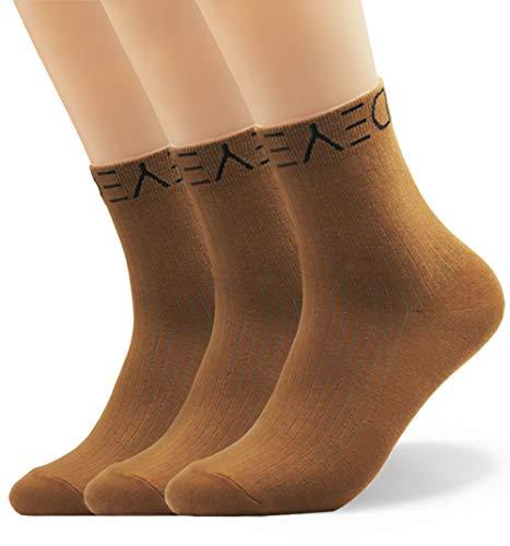 Seoulmade Herren & Damen Socken aus Premium Baumwolle | Bunte Streetwear Socken Braun 35-39 3x Paar