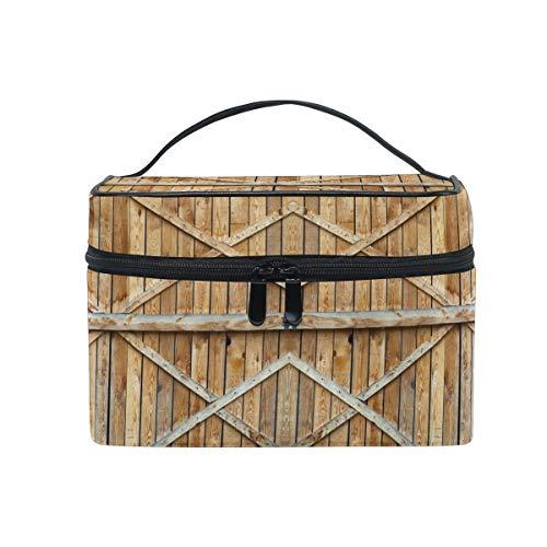 Ahomy Grand sac de maquillage traditionnel porte en bois avec croix portable voyage trousse cosmétique organiseur sac de toilette pour femme