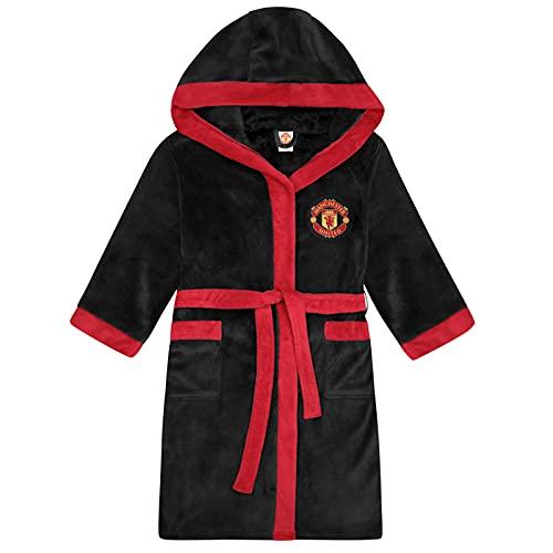 Manchester United FC - Herren Fleece-Bademantel - offizielles Merchandise Fußballfans - Schwarz - L