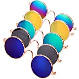 DPLUS Cool Stylish and Funny Cute Pet Sunglasses Pet Goggles - Glasses Set of 5 - Classic Retro Circular Metal Prince Sunglasses for Cat,Chihuahua or Small Dogs (Classic Retro)