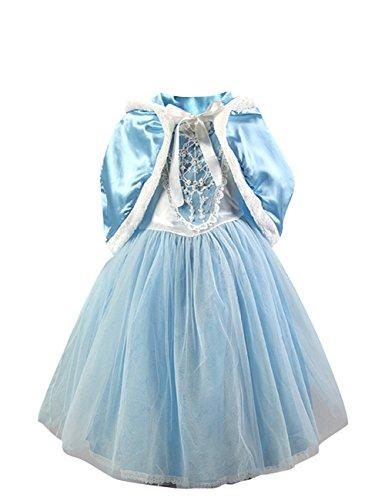 Le SSara Ragazze principessa neve manica Cosplay Costume Abito con mantello corto (7-8 anni, blu)