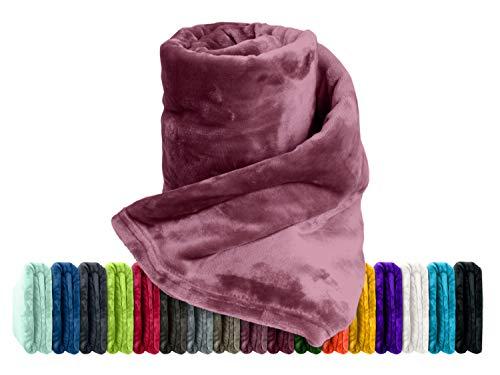 Premium-Microfaser-Flauschdecke - 17 Fantastische Farben - 3 Komfortgrößen - federleicht & kuschelweich - zu Hause & auf Reisen, 150 x 200 cm, Beere