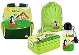 Mein Zwergenland   Personalisertes Kindergartenrucksack-Set   Kinderrucksack, Lunchbox Maxi, Turnbeutel aus Baumwolle, Trinkflasche Happy Knirps Next Print mit Name Grün   Maulwurf