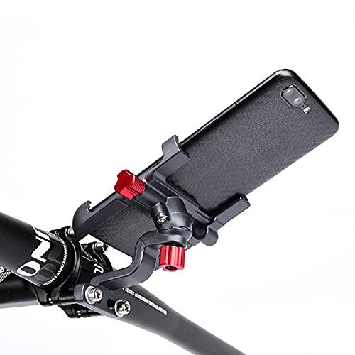 TKOOFN Soporte para teléfono móvil para bicicleta o motocicleta, giratorio 360 grados, universal, de metal, para teléfono móvil, para un ancho de 55 – 95 mm