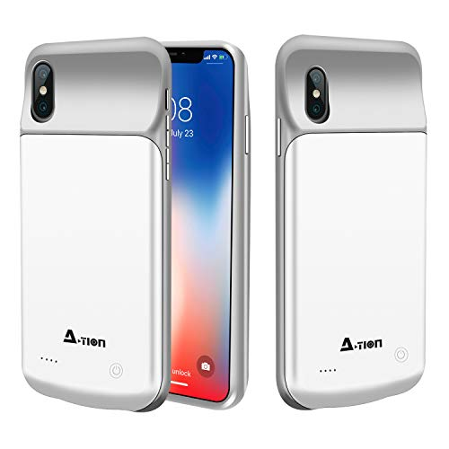 iPhone X Battery Case, A-TION 3200mAh Slim Rechargeable Portable Extended Charger Case, Protective Backup Charging Case with Magnetic Mental for iPhone X - Support Lightning Headphones (White)