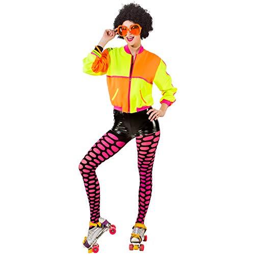 Unbekannt Damen Kostüm 80er 90er BlousonJacke Neon Gr. 34-44 Retro Jacke Party Fasching Karneval (34/36)