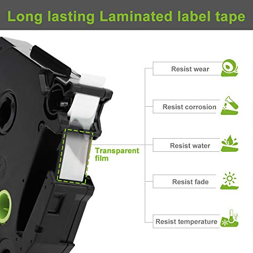 """Label KINGDOM Compatible Label Tape Replacement for Brother Ptouch 9mm 3/8"""" TZe-221 Black on White Label Maker Tape, 0.35 Inch x 26.2 Feet Laminated TZe TZ Tape for PT-D200 PT-D210 PT-H110, 5-Pack Photo #4"""