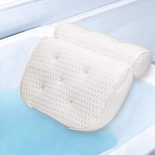Docilaso Premium Bath Pillow, Bathtub Spa Pillow with 4D Air Mesh Technology and 7 Suction Cups - Comfortable for Shoulder, Neck Support, Great for all Bathtub, Hot Tub, Jacuzzi and Home Spa