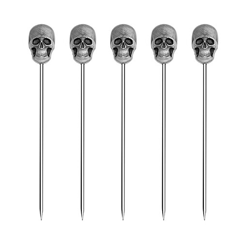 ROOS Creative Cocktail Decoration Fruit Stick Cocktail or Martini Pick Pack of 5 (Skull Shape)
