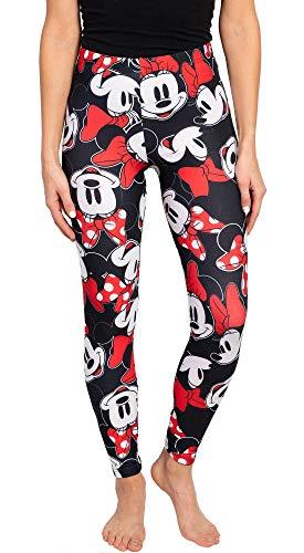 Disney Juniors Womens Leggings Minnie Mouse All Over Print (Black, X-Large)