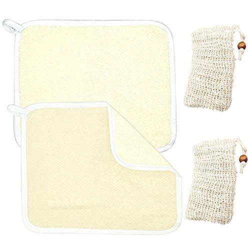 AYWFEY Paquet de 2 serviettes en tissu exfoliant pour le visage et le corps +2 sachets de savon en maille exfoliante au sisal naturel avec cordon de serrage, massage en tissu doux et gommage pour les