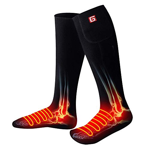 QILOVE Electric Heated Socks with 3.7V Rechargeable Battery Pack-3 Heating Sets Foot Warmers for Men/Women