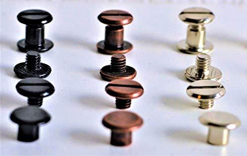 Buchnieten für Leder Buchschrauben Mix schwarz/silber/Kupfer 60 Stück aus Metall 5mm lang, Kopf 10mm