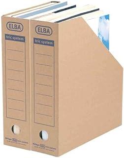 ELBA Lot de 12 Porte revue Carton Tric System Dos de 78 mm Marron