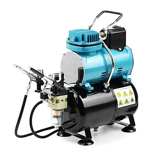 Ausuc エアブラシ コンプレッサー セット 冷却ファン付 オイルレス エアコンプレッサー 静音 スターティングキット 3Lタンク 塗装用具