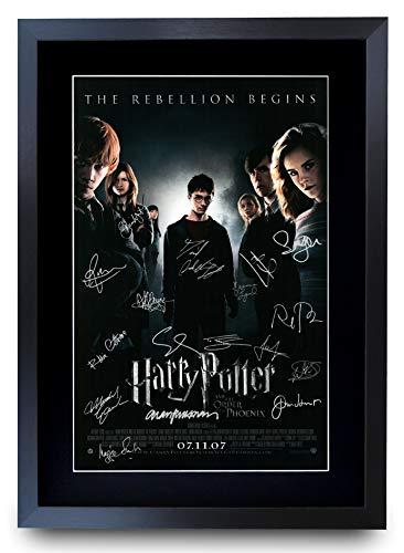 HWC Trading Póster impreso de la Orden del Fénix de Harry Potter, The Cast Daniel Radcliffe, Emma Watson Rupert Grint, imagen de autógrafo firmada para los fans de la película, enmarcado en A3