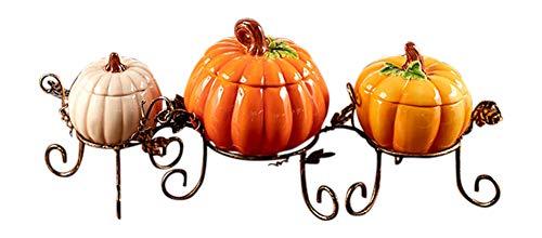 Pumpkin Table Centerpiece Bowl Set Thanksgiving Harvest Fall Home Kitchen Decor 4 Pcs