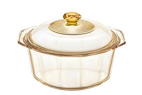 VISIONS Visiones Pyroceram Diamond Cacerola con Tapa de Vidrio, Color marrón, 24,4x 21,5x 10cm