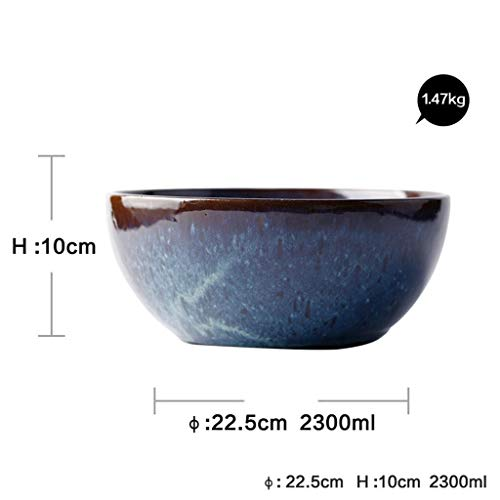 NJIUHB Bowl, in Europese stijl Retro Steengoed Peacock Pattern Salad Bowl + Household grote kom soep, Pasta Bowl, Kaas Multifunctionele Rice Bowl, 8,8 * 3.9in, 2300ml