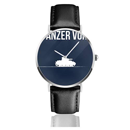 Unisex Business Casual Panzer VOR Mädchen und Panzer weiße Uhren Quarz Leder Uhr mit schwarzem Lederband für Männer Frauen Junge Kollektion Geschenk