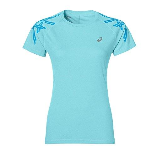 ASICS Stripe SS Top-Shirt, Damen S Blau (Aqua Splash)