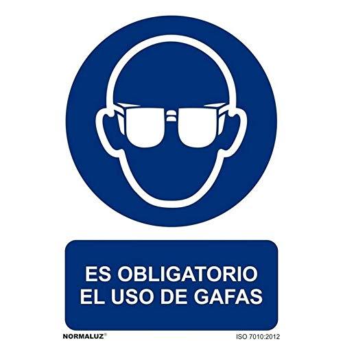 Normaluz RD20602 - Señal Adhesiva Es Obligatorio El Uso de Gafas Adhesivo de Vinilo 20X30 cm