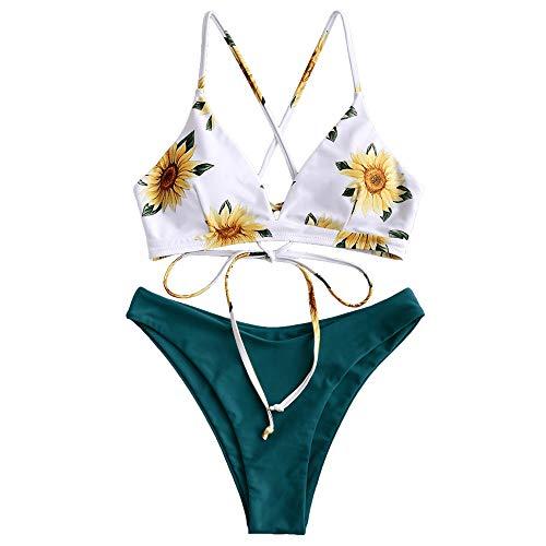 ZAFUL Damen Sonnenblume Druck Spaghetti-Träger Lace-up Gepolstert Bikini Set (Grün Blau, M)