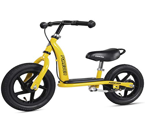 Best Bargain RCIN Kids Balance Bike for 2-6 Years Old, Lightweight Adjustable and Comfortable Seat Handle Durable Inflatable Tires Carbon Steel Frame Training Bicycle Birthday Gift -12 Inches Yellow, Yellow