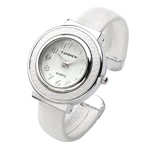 JSDDE Uhren, Chic Manschette Damenuhr Rund Spangenuhr Leder Metallband Armbanduhr Armreif Analoge Kleideruhr Quarzuhr für Frauen (Weiß)