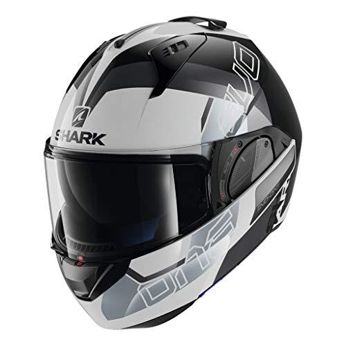 Shark Unisex-Adult Flip-Up Helmet (White/Black/Silver, M - 57-58 cm - 22.4-22.8'')