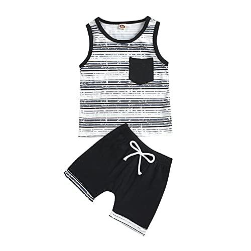 YWLINK Conjunto Color SóLido A Rayas para NiñOs,Camiseta Sin Mangas Estampada A Rayas Sin Mangas para NiñOs con Bolsillos + Pantalones Cortos con Cordones Traje De Dos Piezas