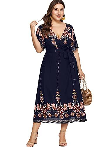 Milumia Women Plus Size Tribal Wrap V Neck Short Sleeves Empire Waist Maxi Dress Navy 3X-Large Plus