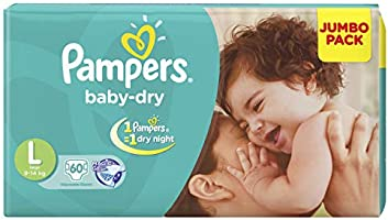 Pampers Taped Diapers, Large (LG), 60 count
