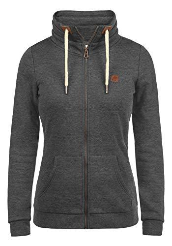 DESIRES Vicky Zipper Damen Sweatjacke Jacke Sweatshirtjacke Mit Stehkragen, Größe:XS, Farbe:Dark Grey Melange (8288)