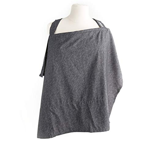 Nursing Cover with Sewn in Burp Cloth for Breastfeeding Infants, Free Matching Pouch, Best Apron Cover Up for Breast Feeding Babies, Covers Up Newborns in Public, 2017 Nappa Winner, Chambray