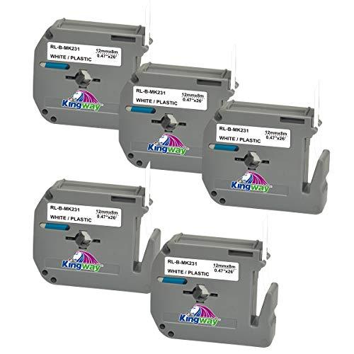 Kingway kompatibel Schriftbänder Ersatz für Brother P-touch MK-231 M-K231 MK231 Etikettenband für PT-90 PT-M95 PT-65 PT-60 PT-45 PT-55 PT-70BM PT-75 PT-85 PT-100 PT-110, Schwarz auf weiß, 12mm x 8m