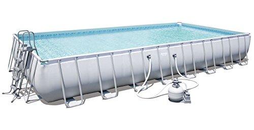 Bestway Power Steel Frame Pool Komplettset viereckig, mit Sandfilteranlage, Leiter, Boden- & Abdeckplane, 956x488x132 cm, grau