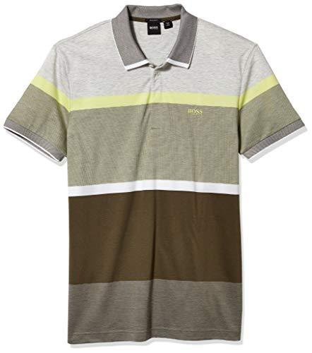 Hugo Boss Herren Paddy 4 10223776 01 Poloshirt, Grün/Weiß gestreift, X-Groß