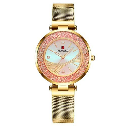 JCCOZ-URG Marca Las Mujeres del Reloj de Diamantes de línea de Acero Inoxidable de Lujo de Las señoras de la Tendencia de Pulsera de Cuarzo Relojes Impermeables del Reloj Femenino URG