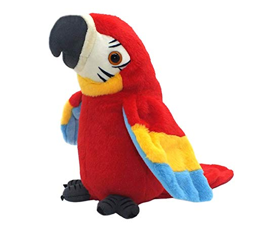 QDD Talking Parrot Repeats What You Say Mimicry Pet Toy Plush Buddy Parrot Children Gift (RED