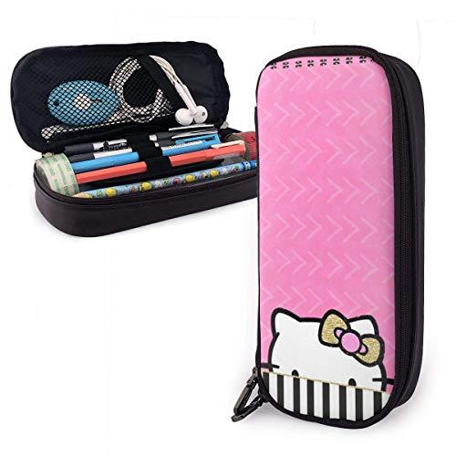 Federmäppchen Rosa Hello Kitty große Kapazität Bleistiftbeutel Make-up Federbeutel Briefpapier mit Doppelreißverschluss Stifthalter für Schule/Büro