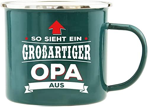 History & Heraldry Echter Kerl - Emaille Becher Bester Opa - individuelle Tasse mit Name und Spruch