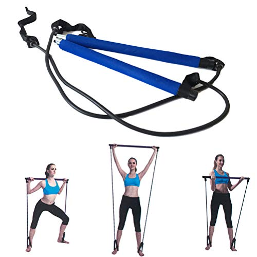 WINBST Tragbares Pilates Bar Kit mit Widerstandsband Yoga Pilates Stick Yoga Gymnastikstange Sportgerät für Zuhause für Yoga, Sit-Up Bar Widerstandsband