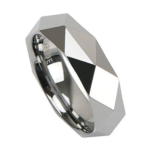 [silver KYASYA]タングステン ダイヤモンドカット 幅5.5mm シルバー silver 銀色 リング 高耐久 頑丈 金属アレルギー対応 専用BOX付属 (19)