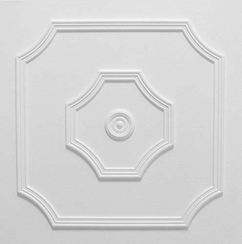 Pannelli Soffitto in Polistirolo Laminato Barok Bianco (Pacco 48 pz / 12 mq)