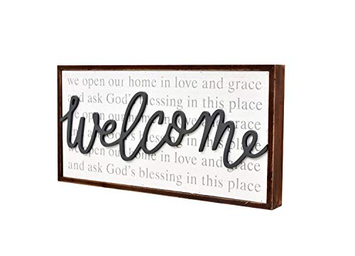 Parisloft We Open Our Home in Love and Grace and Ask God's Blessing in This Place Rustic Wood Framed Family Sign,3D Welcome Word Wall Plaque