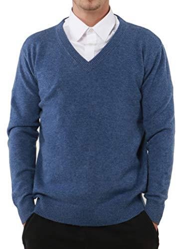 PHELEAD Herren 100% Merinowolle Winterpullover V-Ausschnitt Herren Langarm Slim warm Strick Kaschmir Pullover Herren Sweater (XL, Flower Blue)
