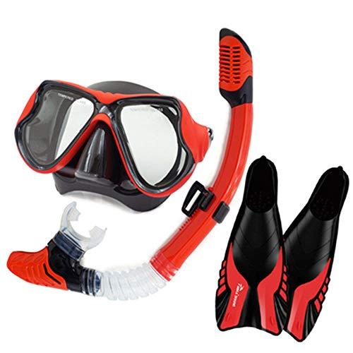 TQBT Tauchmaske Schnorchelmaske Schnorchel-Schnorchelausrüstung Anti-Fog-Big-Box-Brille Knöchel Schnorchel-Set voll trocken Erwachsene