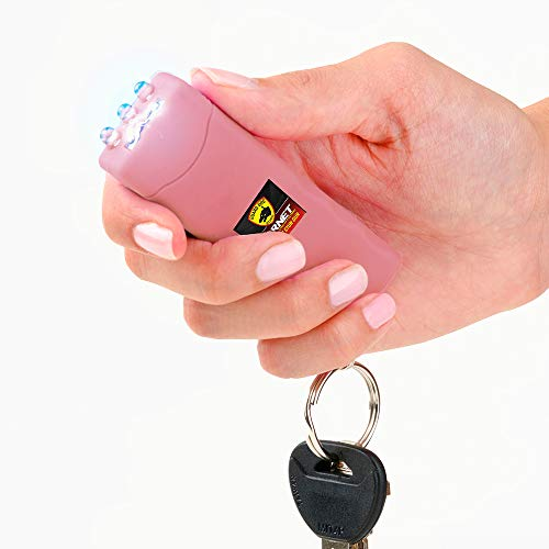 Guard Dog Security Hornet World's Smallest Stun Gun Keychain with Mini LED Flashlight – Mini Stun Gun – Personal Defense Equipment – Rechargeable Stun Gun – with Carry Case (Pink)