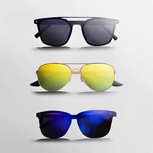 ROLLIN Gafas de Sol VillWat/Gafas de Sol Baratas Unisex para Hombres y Mujeres + 3 Estilos de Lentes Distintos Clasico Cuadradas + Redondas Aviador + Pantalla